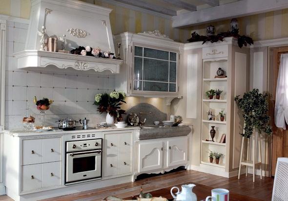 вытяжка в кухне стиля прованс
