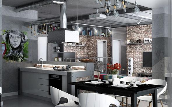 кухня с вытяжкой стиль лофт