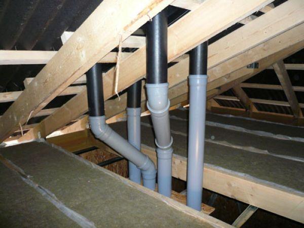 вентиляционный узел из труб на крыше